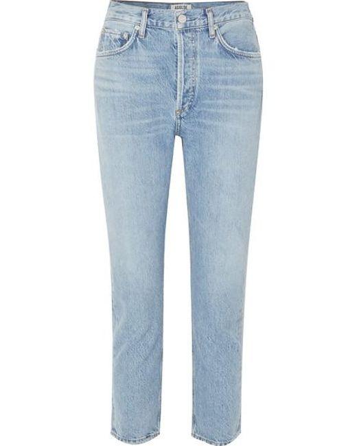 Agolde Blue Riley Verkürzte, Hoch Sitzende Jeans Mit Geradem Bein Aus Biobaumwolle