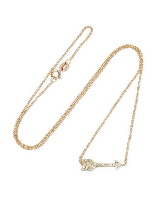 Jennifer Meyer - Metallic Mini Arrow 18-karat Gold Diamond Necklace - Lyst