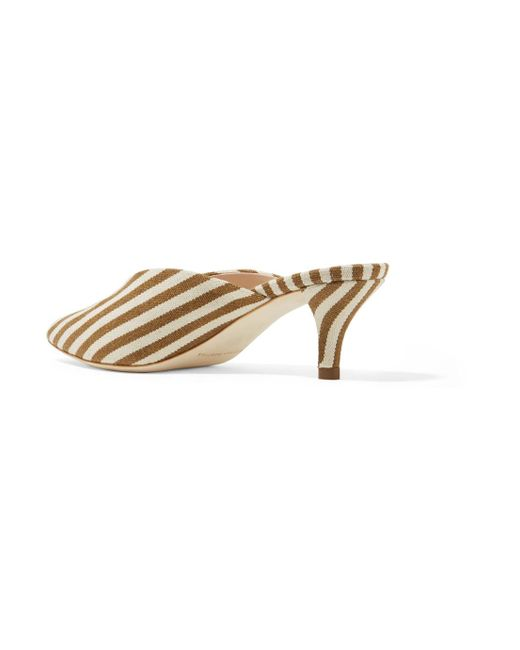 Cheap Release Dates Loeffler Randall Juno Striped Canvas Mules - Tan Discount Free Shipping Cheap 2018 Newest Huge Surprise Cheap Price pekmI7xE2