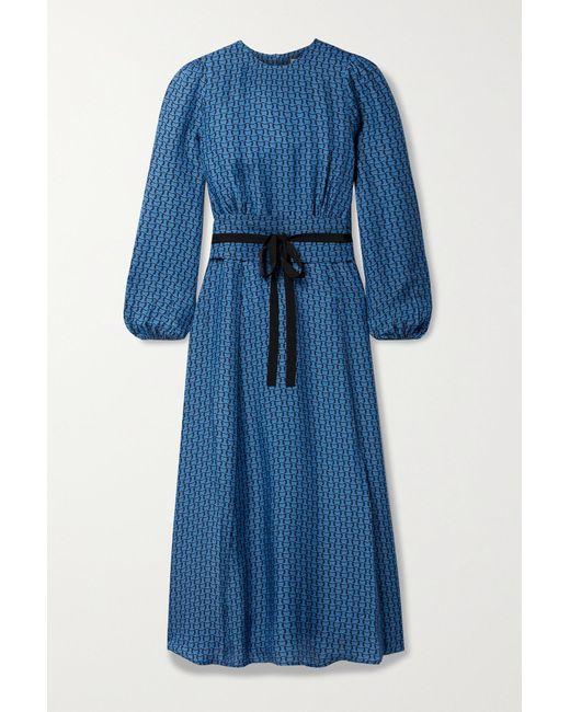 Cefinn Blue Selma Belted Printed Crepe De Chine Midi Dress