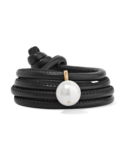 Mizuki - Black Convertible Leather, 14-karat Gold And Pearl Bracelet - Lyst