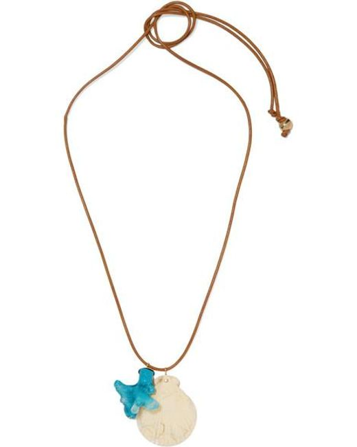 Dinosaur Designs Metallic Gold-tone, Leather And Resin Necklace