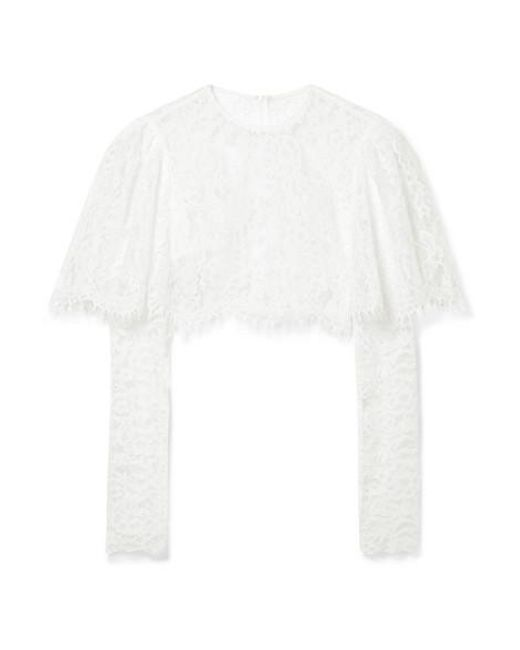 Rasario White Cropped Lace Top