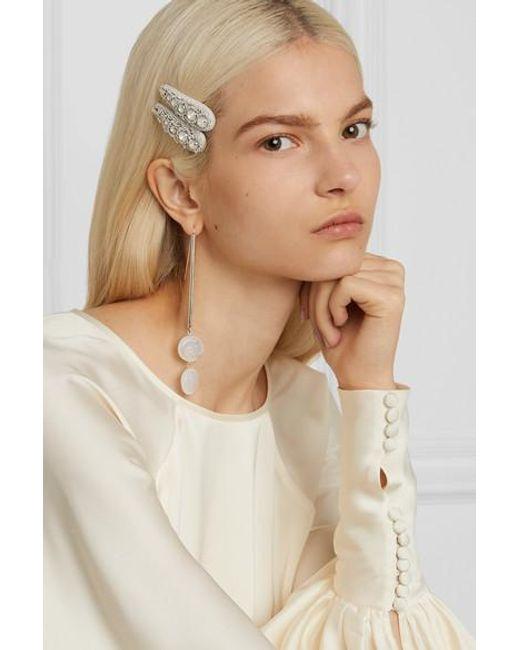 Ranjana Khan White Set Aus Zwei Silberfarbenen Haarspangen Aus Canvas Mit Kristallen