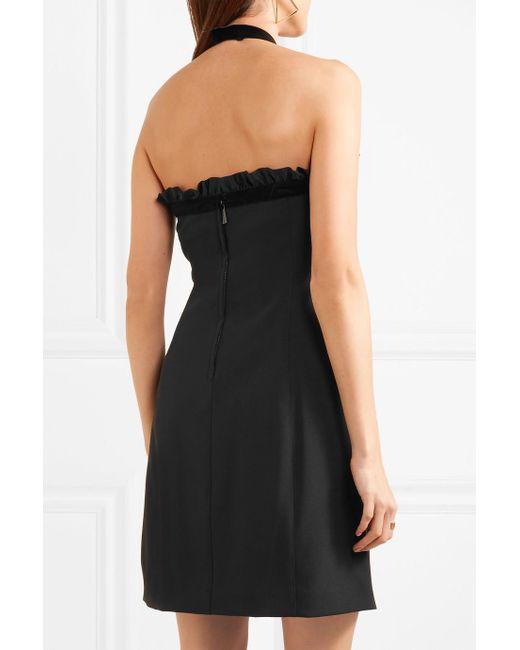 Ruffled Velvet-trimmed Crepe Halterneck Mini Dress - Black Michael Kors 4qmSEq6NC