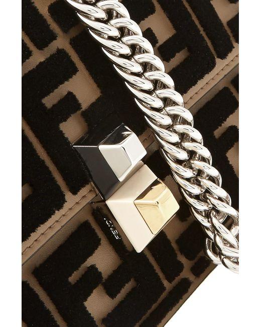 ... Fendi - Brown Kan I Small Flocked Leather Shoulder Bag - Lyst ... 16aaed2b7ae71