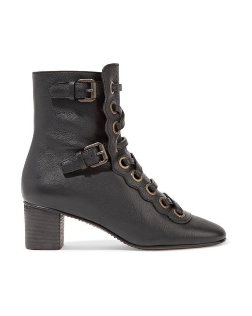 Chloé | Black Orson Lace-up Textured-leather Ankle Boots | Lyst