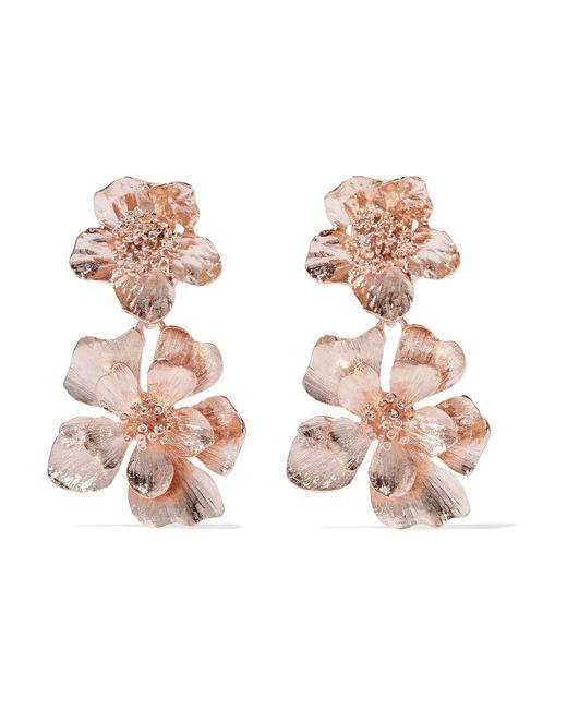Oscar de la Renta   Multicolor Rose Gold-plated Clip Earrings   Lyst