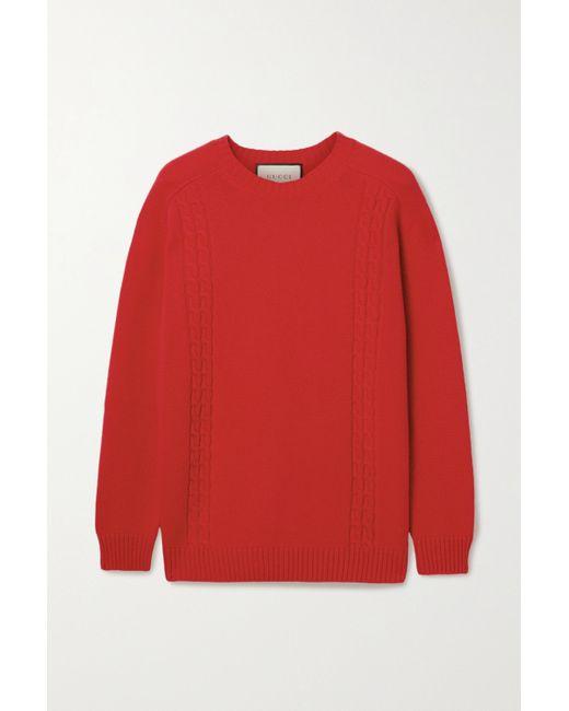 Gucci Red Oversized-pullover Mit Applikation Und Zopfstrickdetails