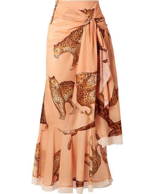 Johanna Ortiz Multicolor Tropical Agitations Wrap-effect Ruffled Printed Cotton-voile Maxi Skirt