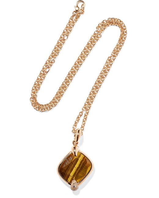 Pomellato - Metallic Ritratto 18-karat Rose Gold, Tiger Eye And Diamond Necklace Rose Gold One Size - Lyst