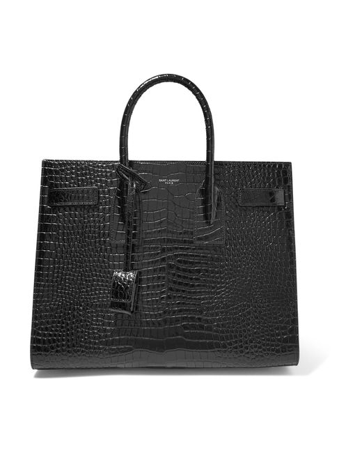 Saint Laurent | Black Sac De Jour Small Croc-effect Leather Tote | Lyst