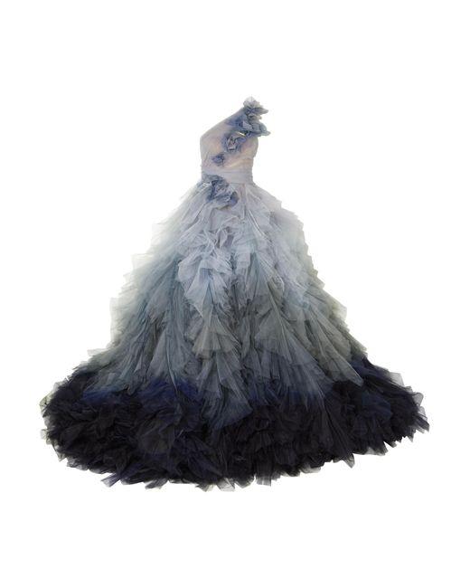 Marchesa - Blue Me One-shoulder Floral-appliquéd Tulle Gown - Lyst