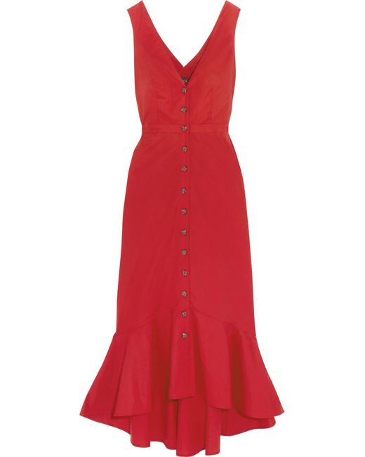 Saloni   Red Zoey Cutout Cotton-blend Poplin Midi Dress   Lyst