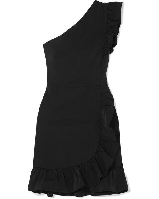 J.Crew - Black Yass One-shoulder Ruffled Twill Mini Dress - Lyst