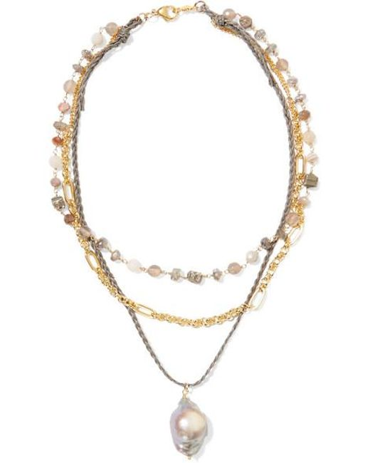 Chan Luu - Metallic Layered Gold-plated And Cord Multi-stone Necklace - Lyst