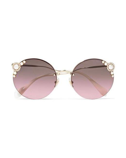 75fdf9bdce75 Miu Miu - Metallic Round-frame Embellished Gold-tone Sunglasses - Lyst ...