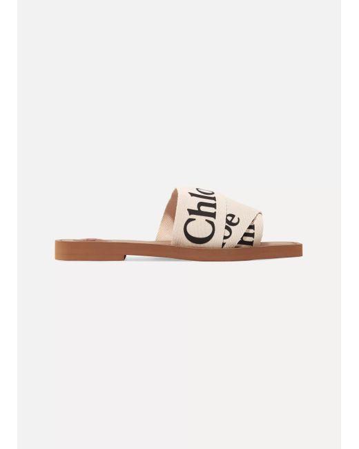 Chloé White Woody Logo-print Canvas Sandals