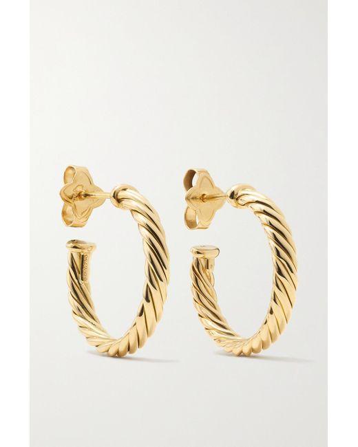David Yurman Cable Spira 18-karat Gold Hoop Earrings in ...