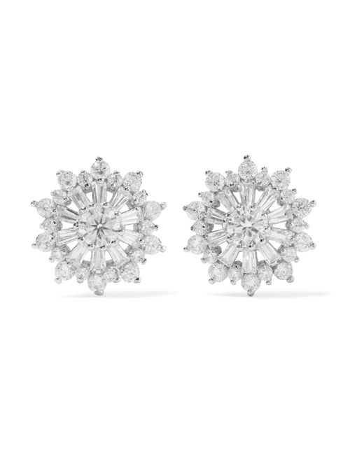 Kenneth Jay Lane - Metallic Rhodium-plated Cubic Zirconia Earrings - Lyst