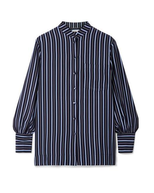 Co. Blue Striped Silk-crepe Shirt