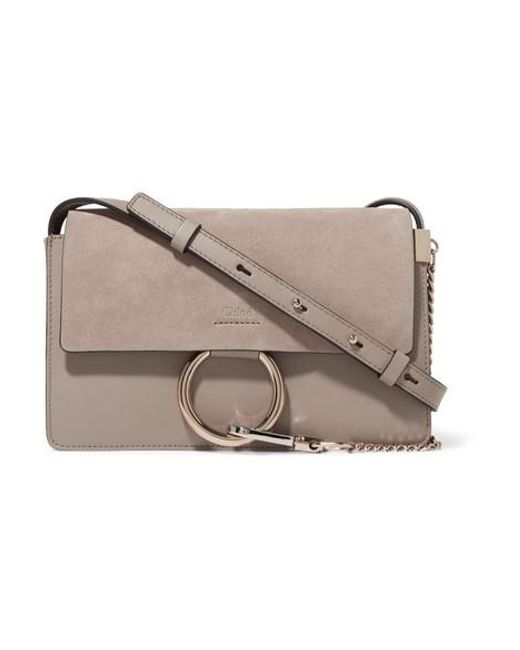 Chloé Gray Faye Small Leather And Suede Shoulder Bag