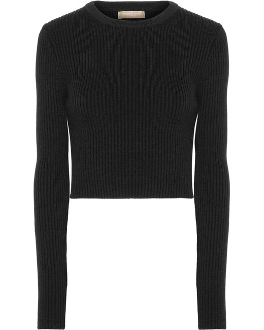 Michael Kors | Black Cropped Ribbed Wool-blend Sweater | Lyst