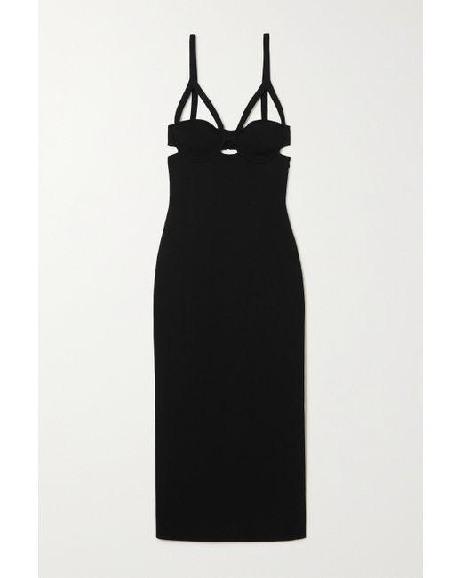 Khaite Black Honour Cutout Stretch-jersey Midi Dress