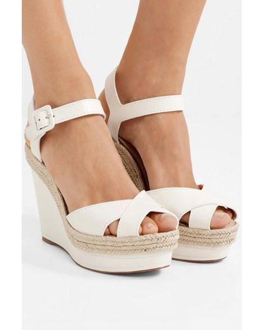 cheap for discount 49f3e 75463 Women's White Almeria 120 Leather Espadrille Wedge Sandals