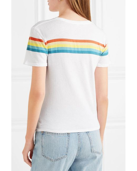 Cheap Outlet Locations Lakota Striped Cotton-jersey T-shirt - White Elizabeth & James Clearance Professional Free Shipping The Cheapest Clearance Outlet U27PuebSGR
