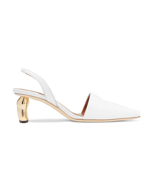 Rejina Pyo - White Conie Croc-effect Leather Slingback Pumps - Lyst