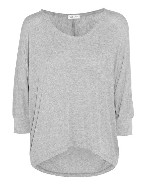 Splendid - Gray Draped Stretch-jersey Top - Lyst