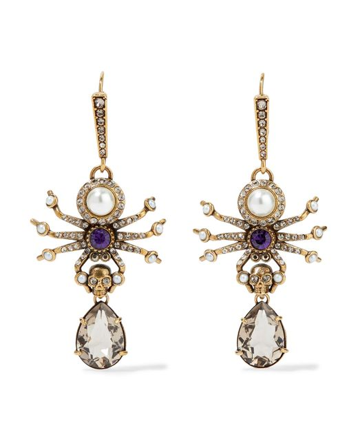 Alexander McQueen - Metallic Gold-tone, Swarovski Crystal And Faux Pearl Earrings - Lyst