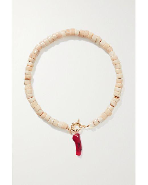 Eliou Metallic Salacia Gold-plated And Coral Necklace