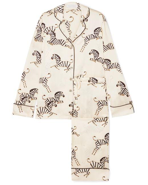 Olivia Von Halle - White Lila Printed Silk-charmeuse Pajama Set - Lyst