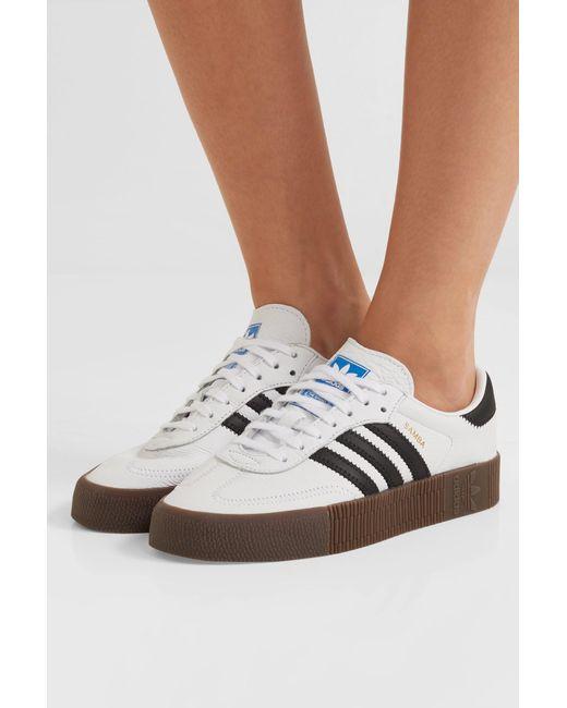 d38ec86985b ... Adidas Originals - White Samba Rose Textured-leather Platform Sneakers  - Lyst ...