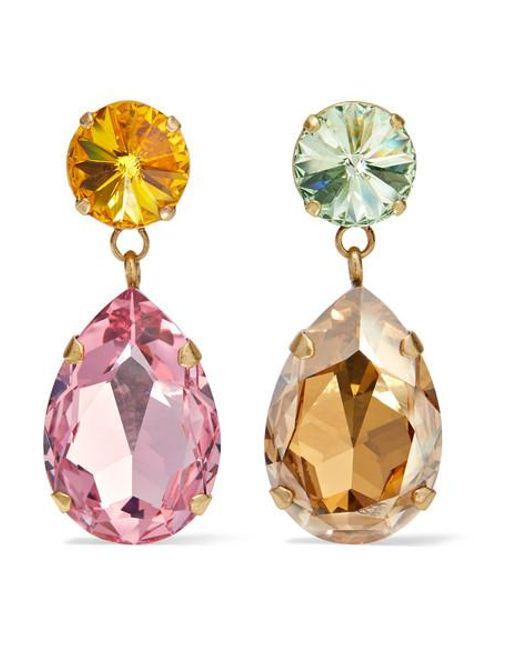 Roxanne Assoulin Pink Hip Hop But Not Gold-tone Swarovski Crystal Clip Earrings