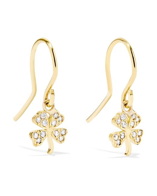 Jennifer Meyer - Metallic Mini Clover 18-karat Gold Diamond Earrings Gold One Size - Lyst