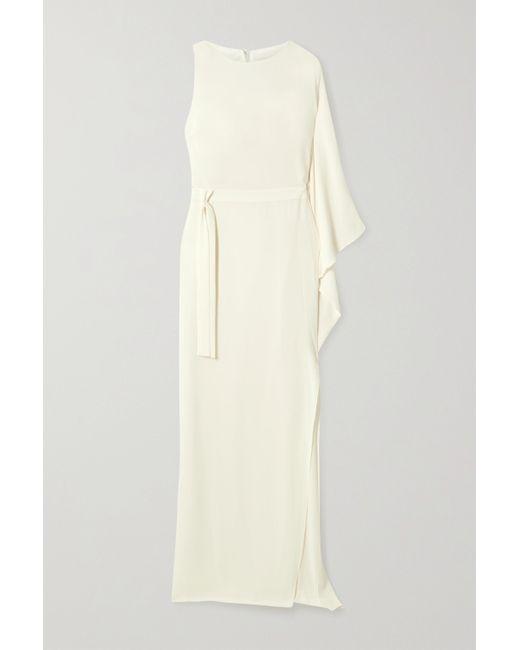 Halston Heritage White Robe Aus Crêpe Mit Asymmetrischer Schulterpartie