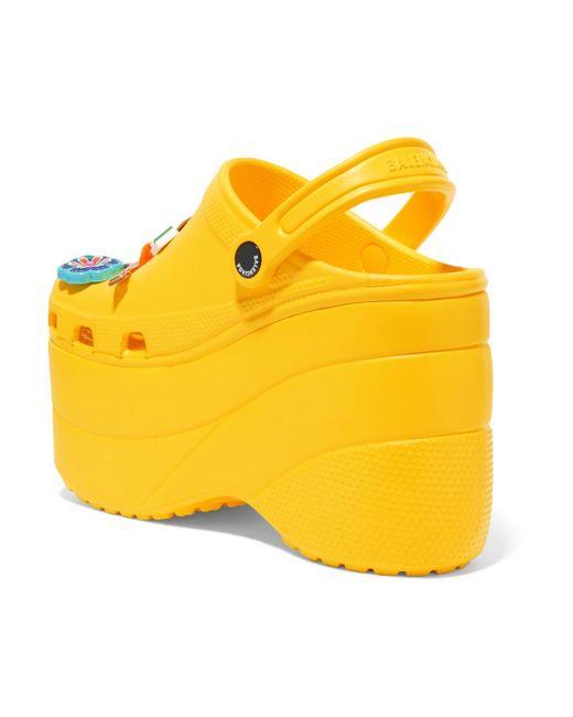 + Crocs Embellished Rubber Platform Sandals - Yellow Balenciaga AmSqLN