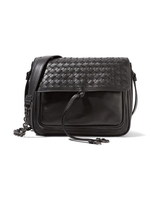 Bottega Veneta - Black Saddle Small Intrecciato Leather Shoulder Bag - Lyst