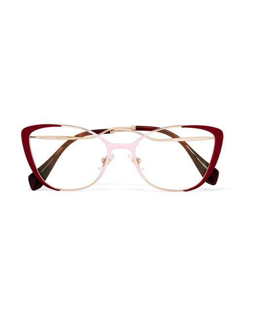 Miu Miu | Red Cat-eye Enamelled Gold-tone Optical Glasses | Lyst