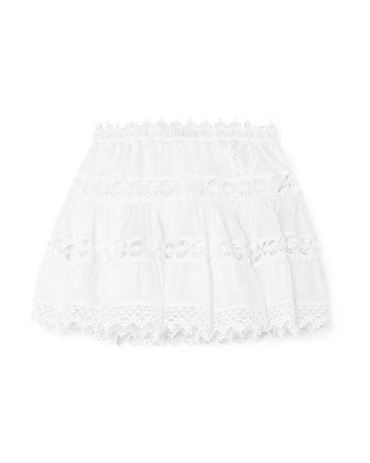 Charo Ruiz White Greta Crocheted Lace-paneled Cotton-blend Mini Skirt