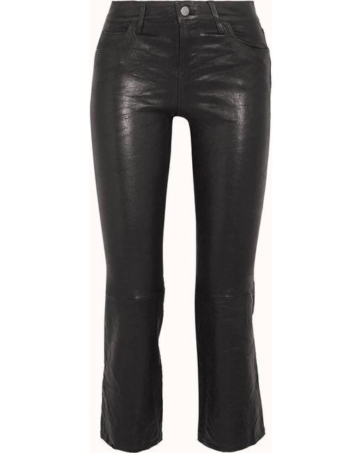 J Brand | Black Selena Cropped Leather Flared Pants | Lyst