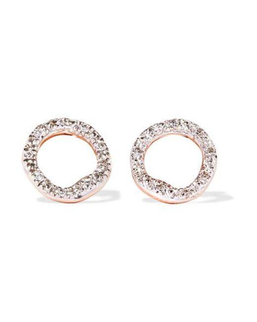 Monica Vinader - Metallic Riva Circle Rose Gold Vermeil Diamond Earrings - Lyst
