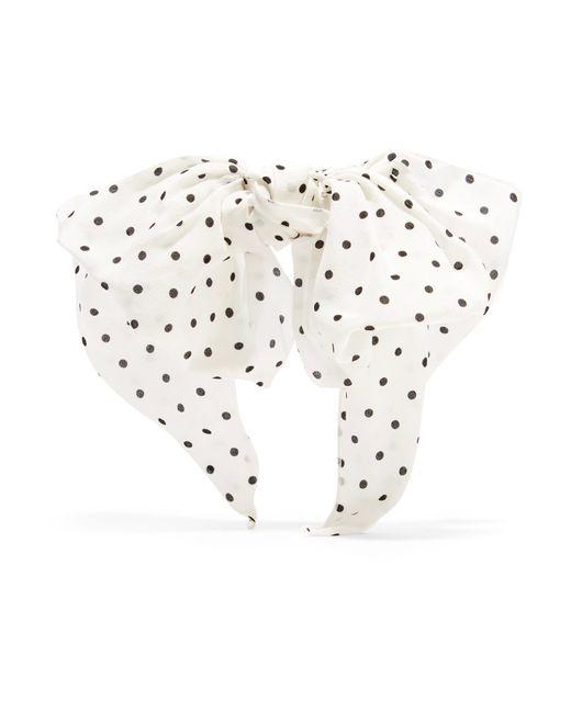 Alessandra Rich | White Polka-dot Silk Crepe De Chine Hairclip | Lyst