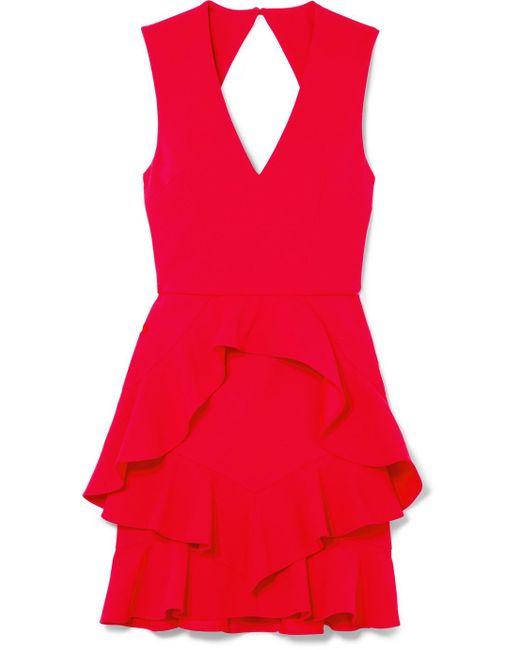 Rebecca Vallance - Red Havana Ruffled Crepe Mini Dress - Lyst