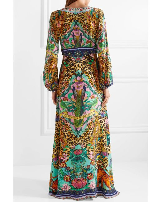 The Long Way Home Embellished Printed Silk Crepe De Chine Maxi Dress - Green Camilla