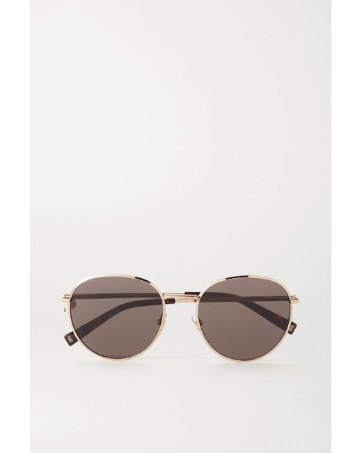 Givenchy Metallic Goldfarbene Sonnenbrille Mit Rundem Rahmen