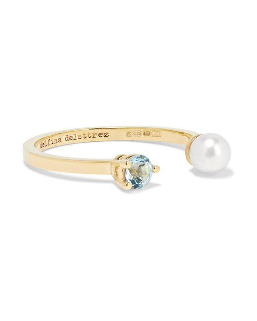 Delfina Delettrez - Metallic 9-karat Gold, Topaz And Freshwater Pearl Ring - Lyst